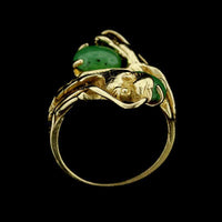14K Yellow Gold Double Dragon Head Jade Ring