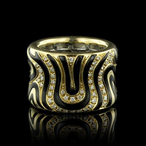 Roberto Coin 18K Yellow Gold Diamond and Enamel Zebra Ring