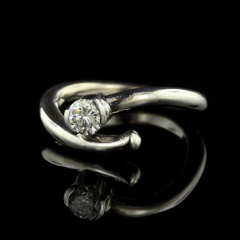 14K White Gold Diamond Bypass Ring