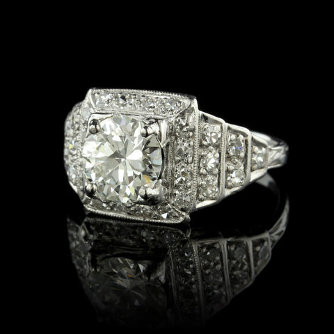 Platinum Diamond Art Deco Ring