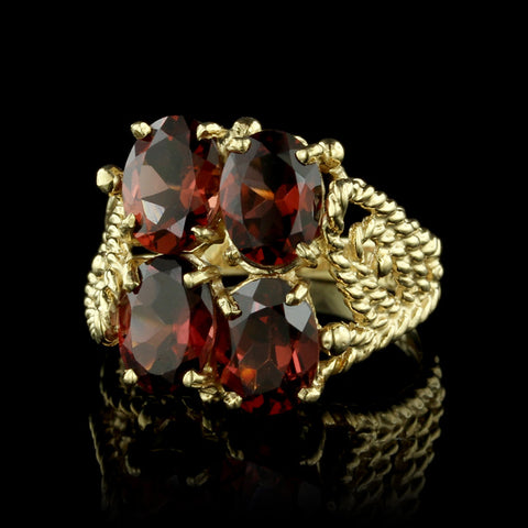 14K Two-Tone Gold Garnet and Diamond Ring