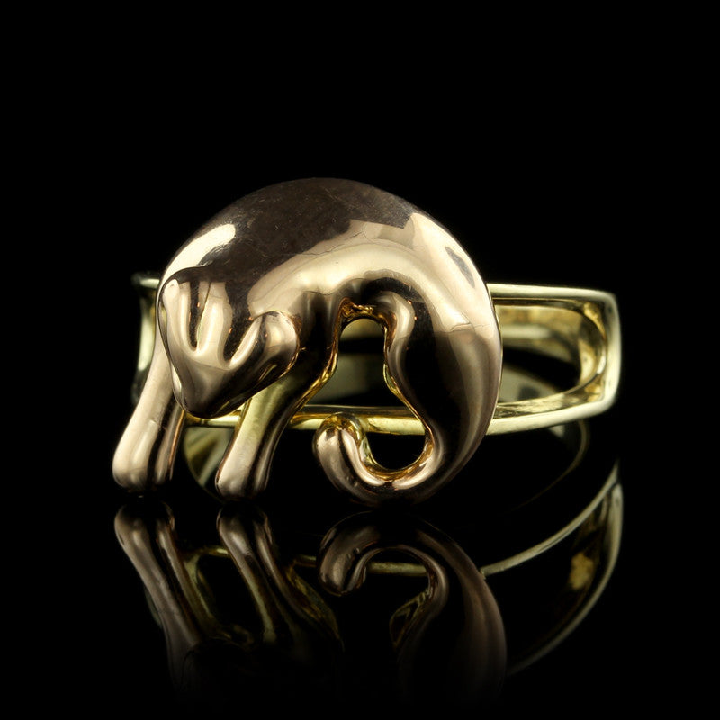14K Two-Tone Panther Ring