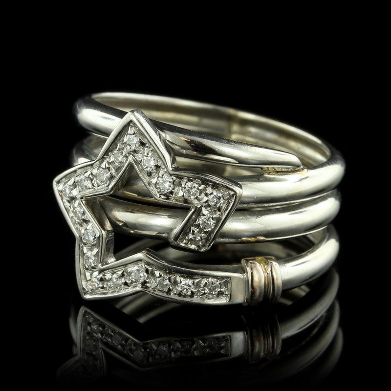 18K White Gold Diamond Star Ring