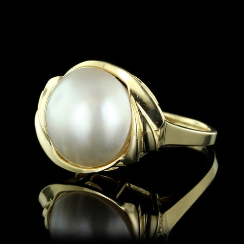 14K Yellow Gold Mabe Pearl Ring