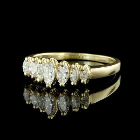14K Yellow Gold Marquise Diamond Ring