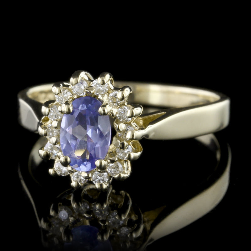 14K Yellow Gold Tanzanite and Diamond Ring