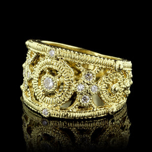 Judith Ripka 18K Yellow Gold Diamond Band