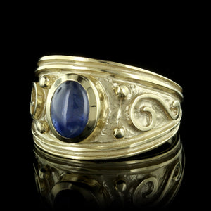 Etruscan Style 14K Yellow Gold Sapphire Ring