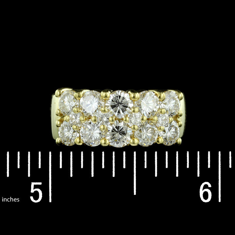 18K Yellow Gold Two Row Diamond Band