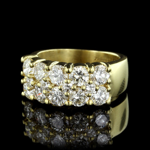 18K Yellow Gold Three Row Diamond Band