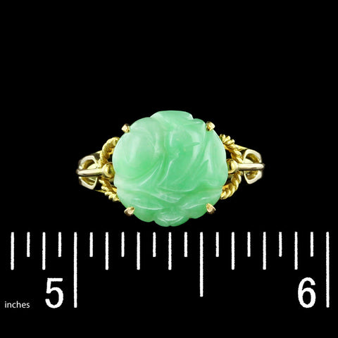 14K Yellow Gold Carved Jadeite Ring