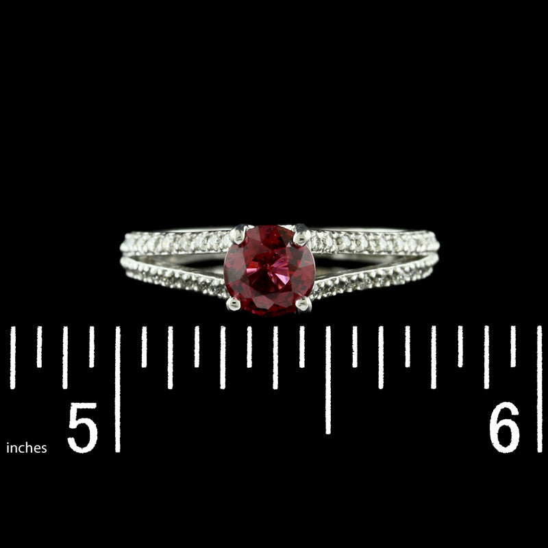 18K White Gold Pink Spinel and Diamond Ring