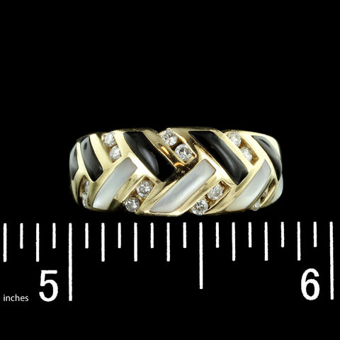 Kabana 14K Yellow Gold Onyx, Mother of Pearl and Diamond Ring