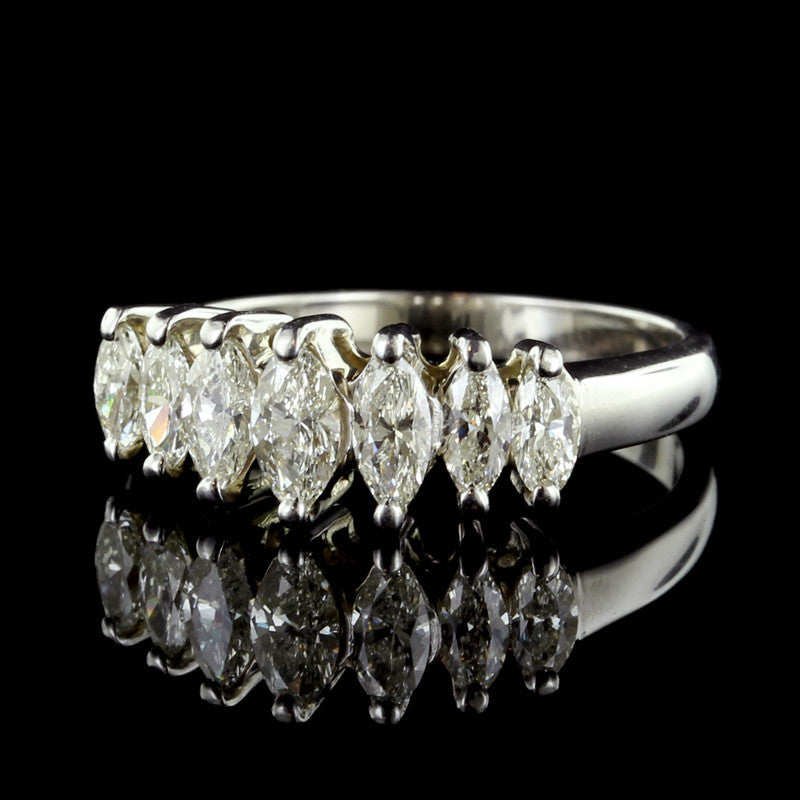 14K White Gold Graduated Marquise Diamond Ring