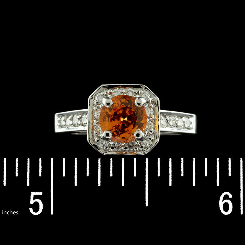 14K White Gold Spessartite Garnet and Diamond Ring