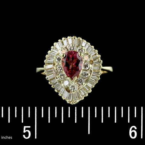 14K Yellow Gold Pink Tourmaline and Diamond Ring