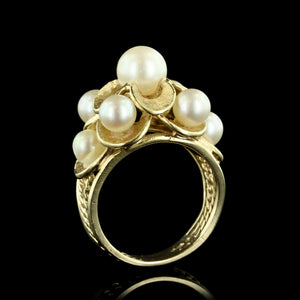 14K Yellow Gold Cultured Pearl Cluster Ring