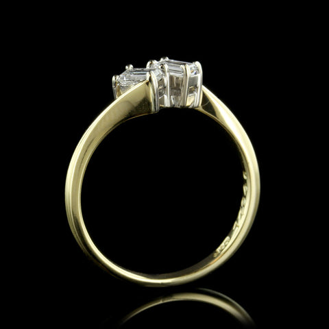 18K Yellow Gold Emerald Cut Diamond Ring