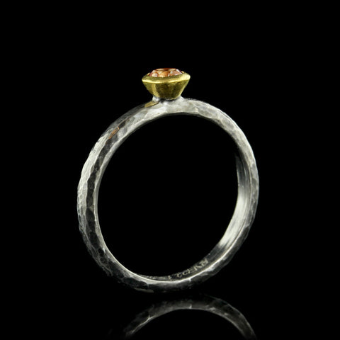 Gurhan Sterling Silver and 24K Yellow Gold Poppy Topaz Stacking Ring
