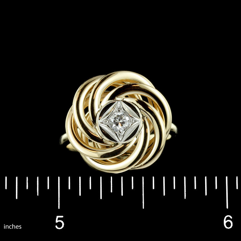 14K Yellow Gold and Diamond Knot Ring