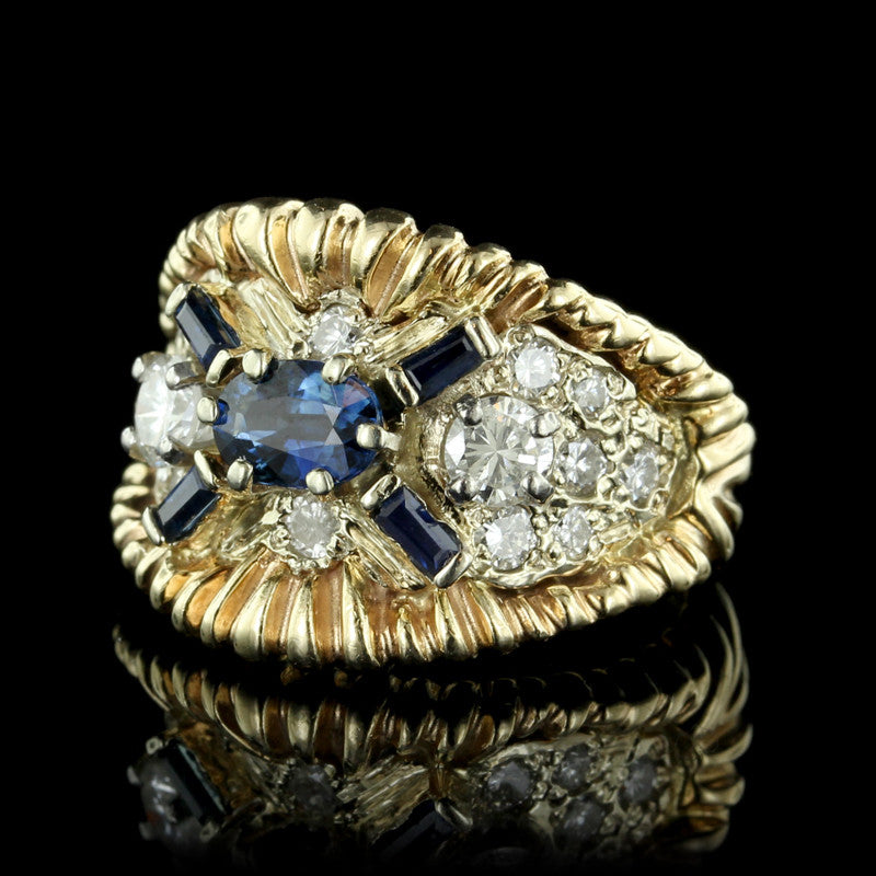 14K Two-Tone Gold Sapphire and Diamond Ring