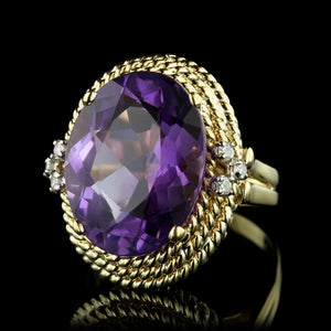 18K Yellow Gold Amethyst and Diamond Ring