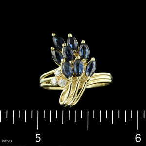 14K Yellow Gold Estate Sapphire and Diamond Ring