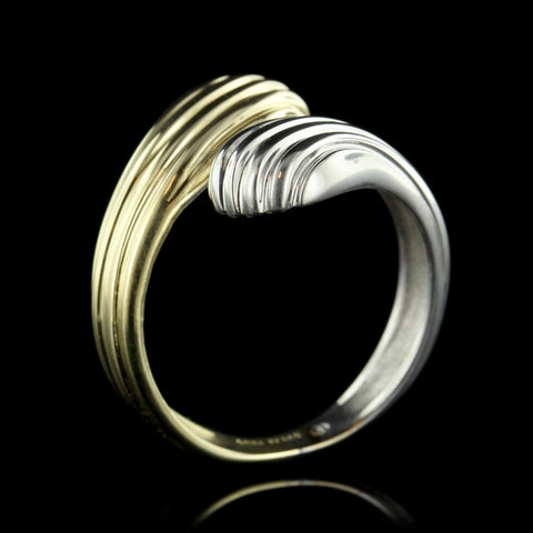 14K Two-Tone Gold Bypass Ring