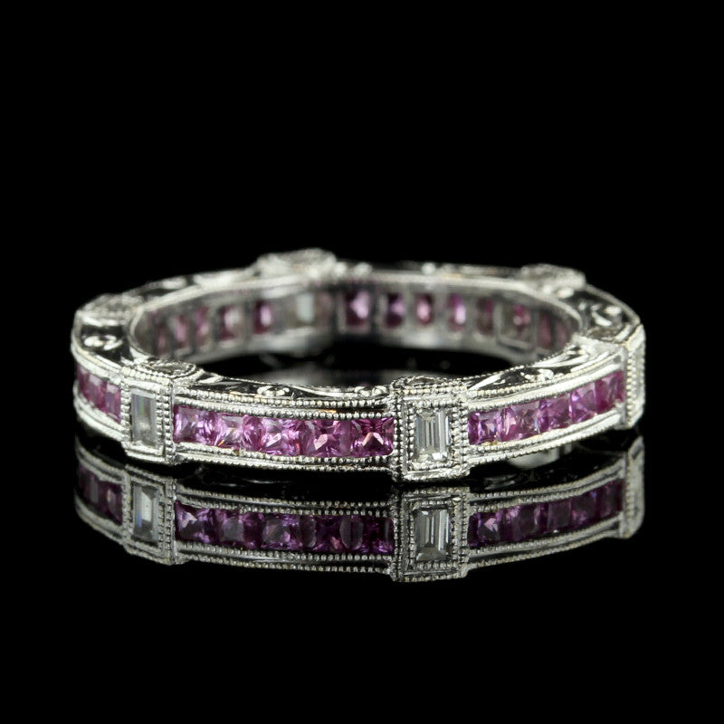 18K White Gold Pink Sapphire and Diamond Band