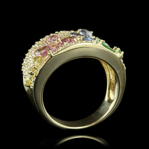 Effy 14K Yellow Gold Colored Sapphire and Diamond Ring
