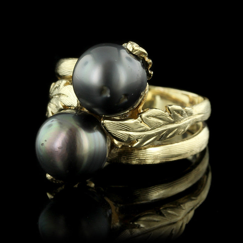 14K Yellow Gold Tahitian Baroque Pearl Bypass Ring