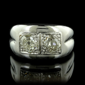 14K White Gold Estate Twin Stone Diamond Ring