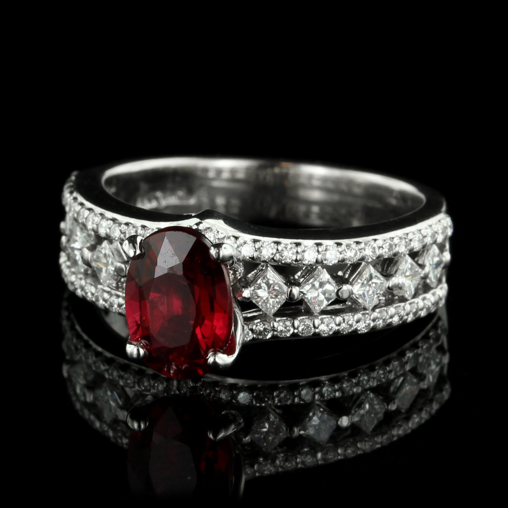 14K White Gold Spinel and Diamond Ring