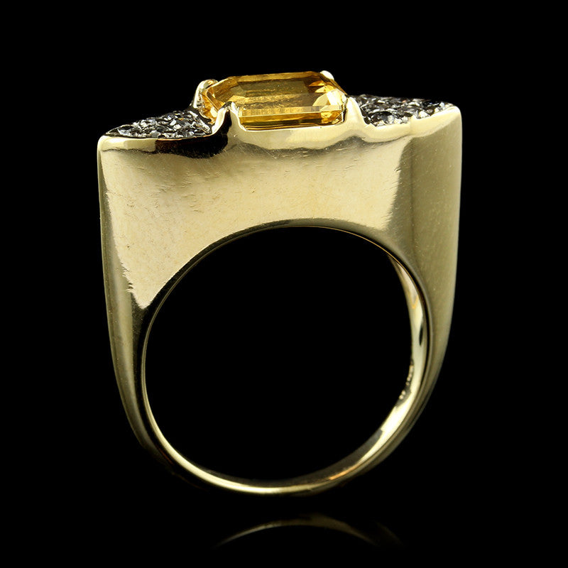 14K Yellow Gold Citrine and Diamond Ring