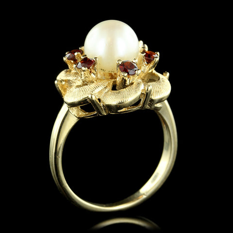 14K Yellow Gold Cultured Pearl and Garnet Ring