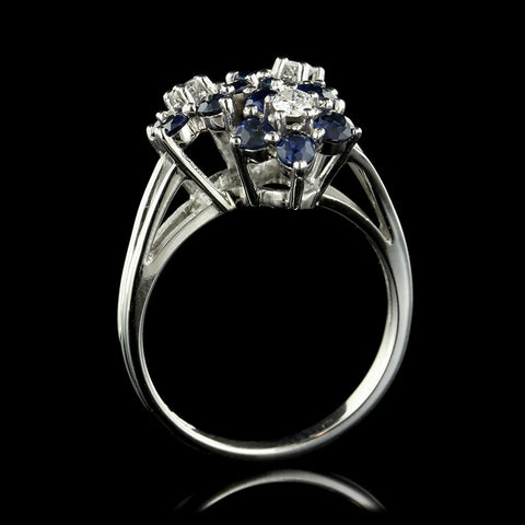 14K White Gold Sapphire and Diamond Flower Ring