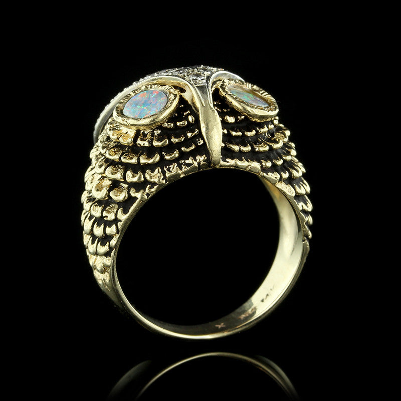 14K Yellow Gold Opal and Diamond Owl Ring
