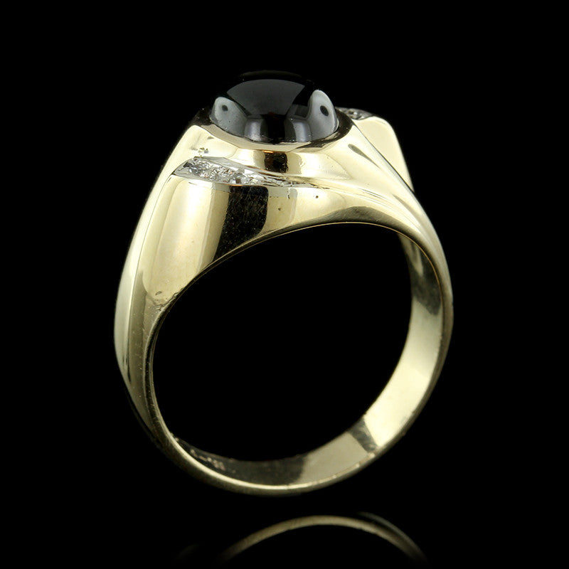 14K Yellow Gold Chrysoberyl and Diamond Ring