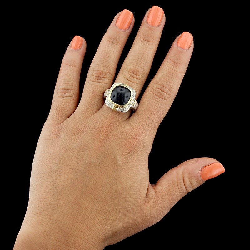 Judith Ripka Sterling Silver and 18K Yellow Gold Onyx and Diamond Ring