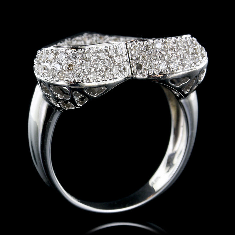 14K White Gold Estate Diamond Heart Ring