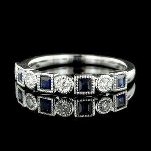 14K White Gold Sapphire and Diamond Band