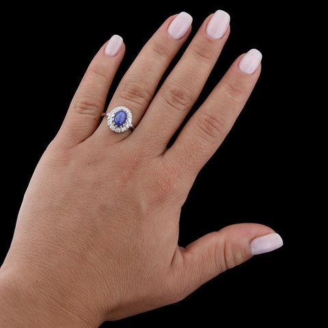 14K White Gold Synthetic Linde Star Sapphire and Diamond Ring