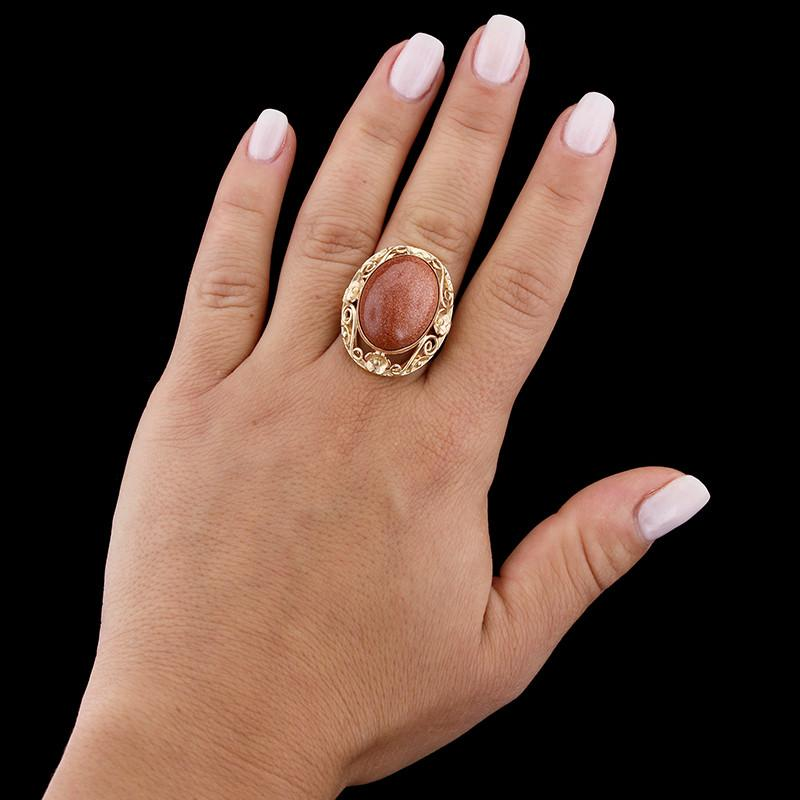 18K Yellow Gold Synthetic Goldstone Ring