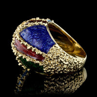 18K Yellow Gold Estate Enamel Dome Ring