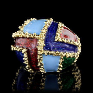 18K Yellow Gold Enamel Dome Ring