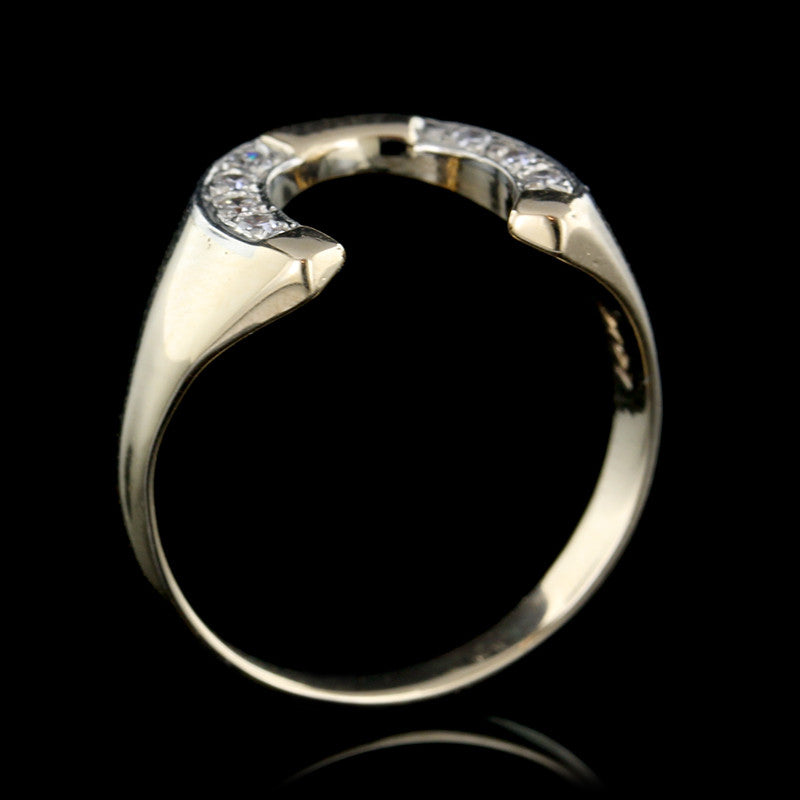 14K Yellow Gold Diamond Horseshoe Ring