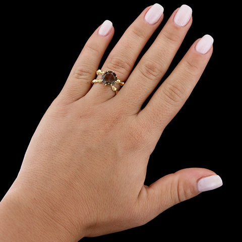 14K Yellow Gold Smoky Quartz Ring