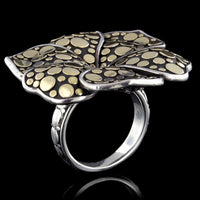 John Hardy Sterling Silver and 18K Yellow Gold Flower Dot Ayu Frangipani Flower Ring