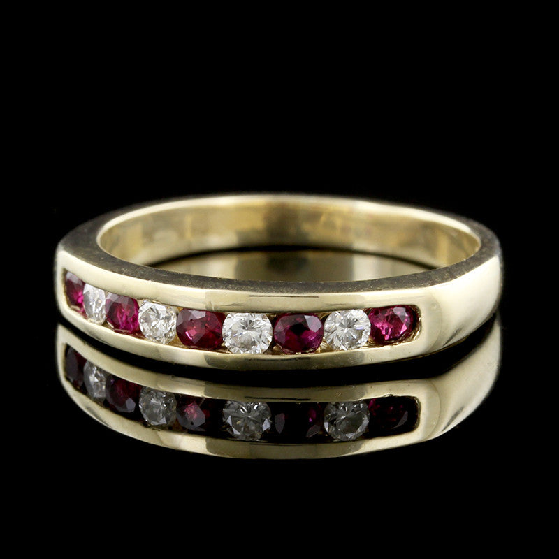 14K Yellow Gold Ruby and Diamond Band