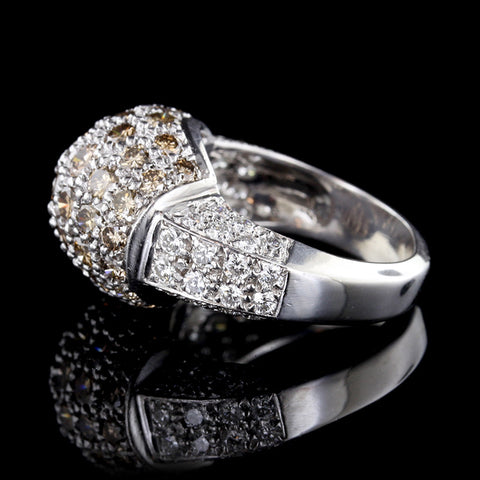 18K White Gold Colored and White Diamond Dome Ring